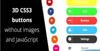 3d css3 buttons without js & images