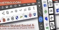 Metro con metro styled social & icons type link