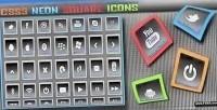 Neon css3 square icons
