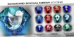 Social diamond icons animated media
