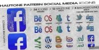 Social halftone media buttons