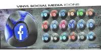 Social vinyl icons animated media