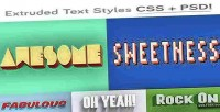 Css extruded type psd styles