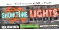 Css neon type psd styles