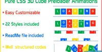 Css pure 3d animations preloader cube