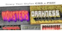 Css scary type psd styles