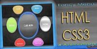 Fancy animated css3 html menu