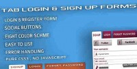 Login tab forms up sign