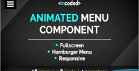 Animated incoded menu component