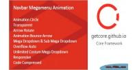 Mega navbar menu animation