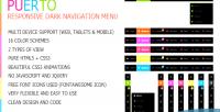 Responsive puerto menu navigation dark