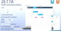 Zetta menu css3 mega menu down drop