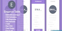 Animated elegance table pricing responsive
