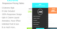 Creative extreme tables pricing responsive