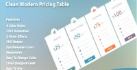 Modern clean pricing table