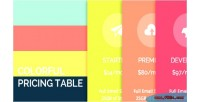 Pricing colorful table
