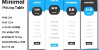 Pricing minimal table responsive