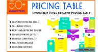 Table pricing responsive table clean pricing creative