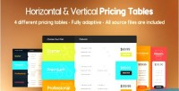 Vertical horizontal pricing tables