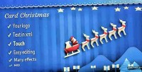 Card christmas with sleigh