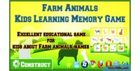 Animals farm kids game memory learning