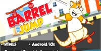 Barrel jump html5 mobile capx game