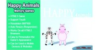 Happy animals memory games game learning html5