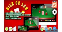 High, low html5 game casino construct