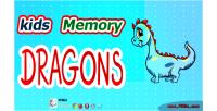Memory kids game dragon
