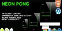 Pong neon game arcade html5