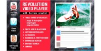 Revolution video player with bottom playlist youtube vimeo support hosted self