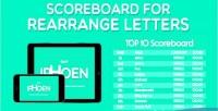 For scoreboard rearrange letters
