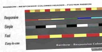 Colored responsive ribbon footer header