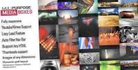 Purpose multi media grid responsive boxes