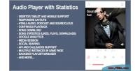 Player audio with statistics