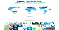 Animated svg globe with logos & markers