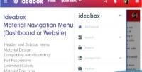 Material ideabox navigation website menu, dashboard