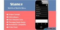 Multilevel stance menu navigation mobile