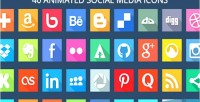 Animated 40 svg icons media social