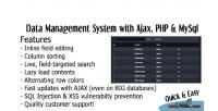 Ajax datagrid tables system management data