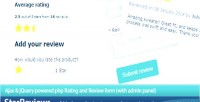 Starreviews ajax jquery rating form review and