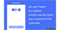 User ajax registration login & autologin cookie with