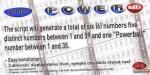 Lottery powerball number generator