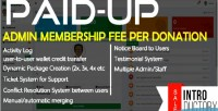 Peer paidup to peer membership donation system transaction fee