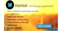 Social webwall microblogging application