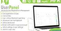 Userpanel advanced user registration & user script php management