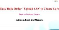 Bulk order upload csv to create cart admin magento end front bulk