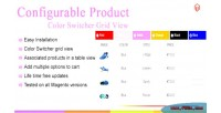 Color magento swatch table product configurable
