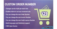 Invoice custom order number