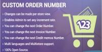 Invoice custom order number